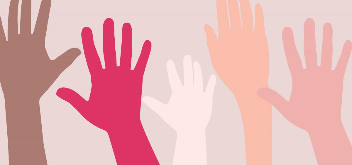 Raised hands in various shades of color.